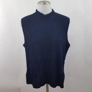St. John Collection Blue Sleeveless Turtle Neck To